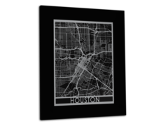 "Houston - Stainless Steel Map - 11""x14"""