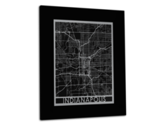 "Indianapolis - Stainless Steel Map - 11""x14"""