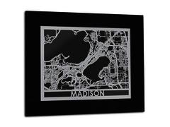 "Madison - Stainless Steel Map - 11""x14"""