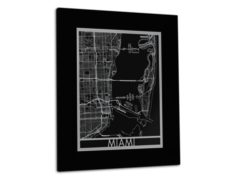 "Miami - Stainless Steel Map - 11""x14"""