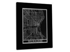 "Milwaukee - Stainless Steel Map - 11""x14"""