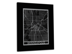 "Minneapolis - Stainless Steel Map - 11""x14"""