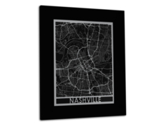 "Nashville - Stainless Steel Map - 11""x14"""