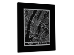 "New York City - Stainless Steel Map - 11""x14"""
