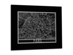 "Paris - Stainless Steel Map - 11""x14"""