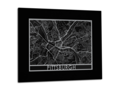 "Pittsburgh - Stainless Steel Map - 11""x14"""
