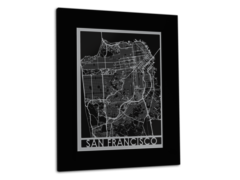 "San Francisco - Stainless Steel Map - 11""x14"""