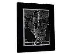 "Seattle - Stainless Steel Map - 11""x14"""